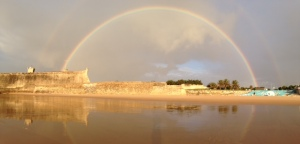 The rainbow that was covering the sky during our last swim workout...